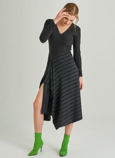 People By Fabrika Dantel Detaylı Elbise Antrasit